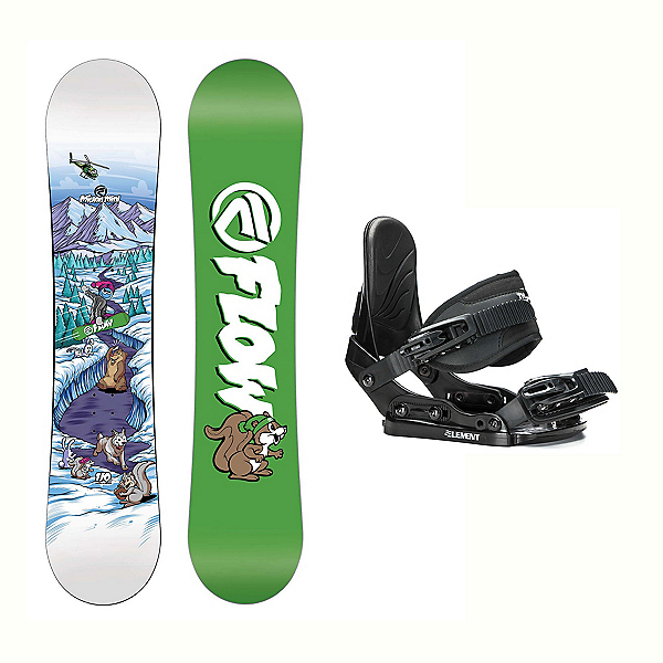 Flow Micron Mini Stealth Kids Snowboard and Binding Package 2018, , 600
