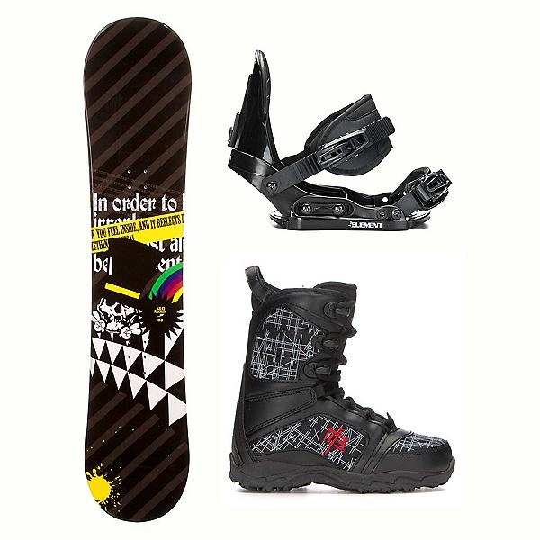 SLQ Black Rainbow Rocker Militia Kids Complete Snowboard Package, , 600