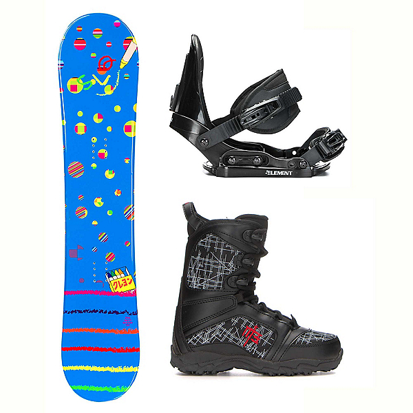 SLQ Multi Blue Militia 4 Kids Complete Snowboard Package, , 600