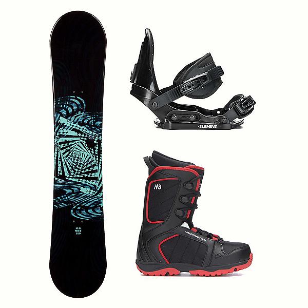 SLQ Why Green Rocker Militia 4 Kids Complete Snowboard Package 2018, , 600