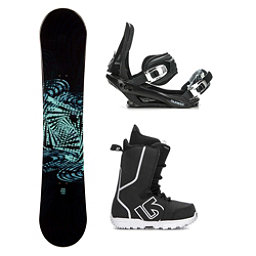 SLQ Why Green Rocker Fastplant Kids Complete Snowboard Package 2018, , 256
