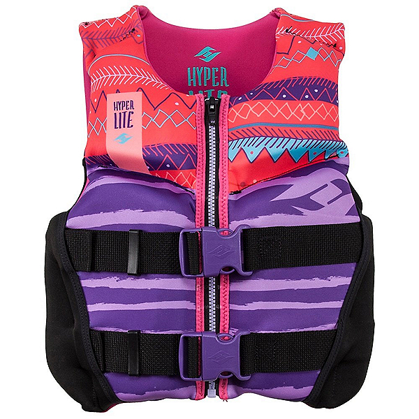Hyperlite Youth Indy Neo Vest Girls Junior Life Vest 2020, Purple-Coral, 600