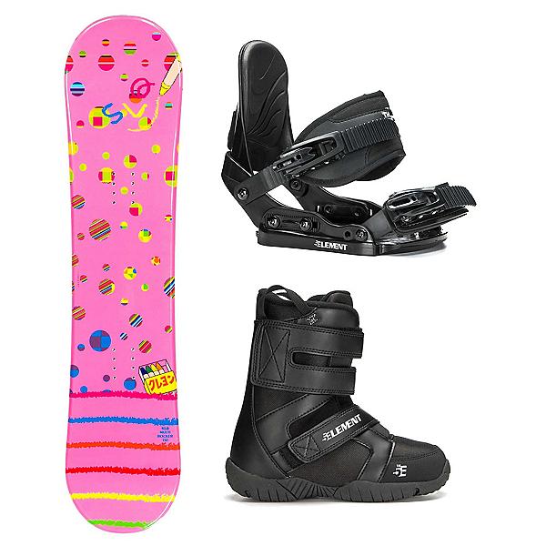 SLQ Multi Pink Rocker ST Mini Girls Complete Snowboard Package, , 600