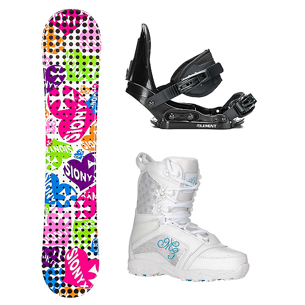 Sionyx Hearts White Venus Girls Complete Snowboard Package 2018, , 600