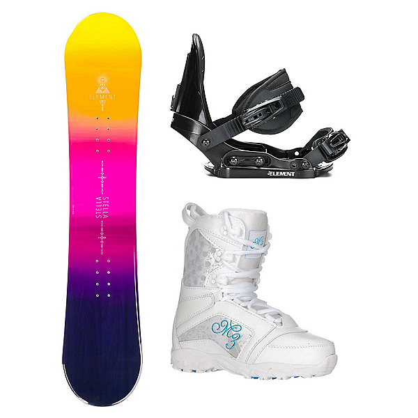 Stella Element Yellow Venus Girls Complete Snowboard Package 2018, , 600