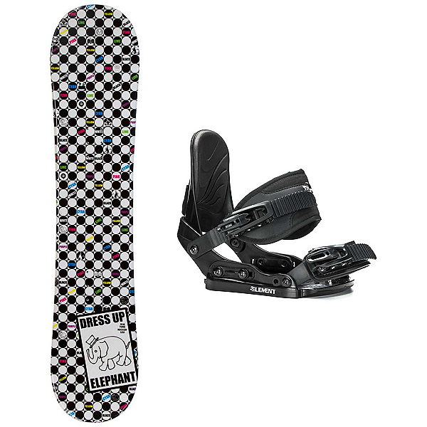 SLQ Tone Elephant Rocker Stealth Girls Snowboard and Binding Package 2018, , 600