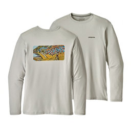 Patagonia Graphic Tech Fish Mens Shirt, Eye Of Brown-Tailored Grey, 256