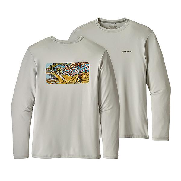Patagonia Graphic Tech Fish Mens Shirt, Eye Of Brown-Tailored Grey, 600