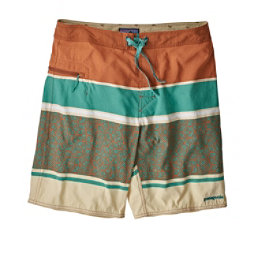 Patagonia Wavefarer Mens Board Shorts, Batik Hex Stripe-Canyon Brown, 256