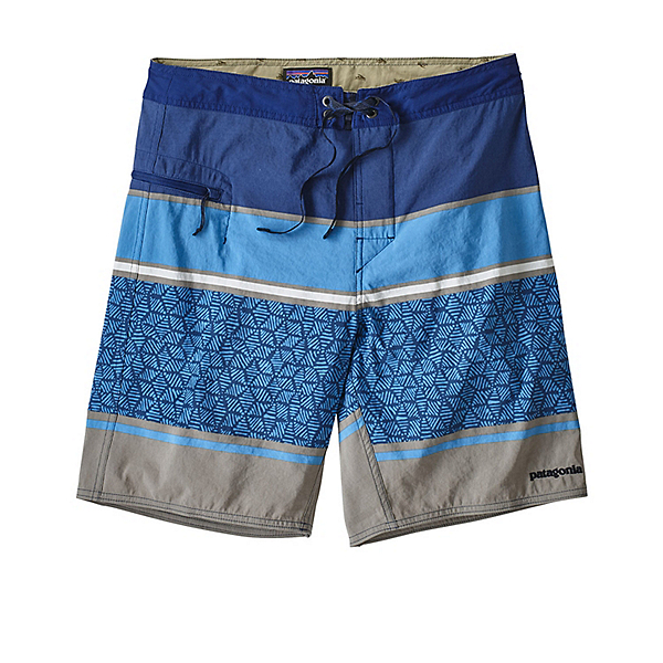 Patagonia Wavefarer Mens Board Shorts, Batik Hex Stripe-Superior Blue, 600