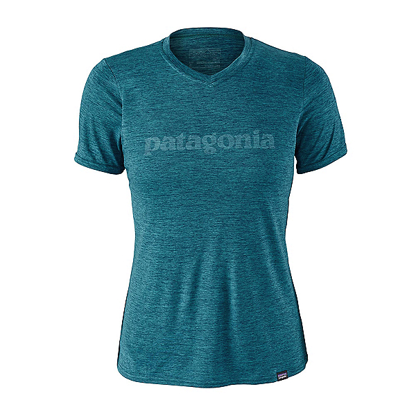 Patagonia Capilene Daily Graphic Womens T-Shirt, Text Logo-Elwha Blue-Navy Blue, 600