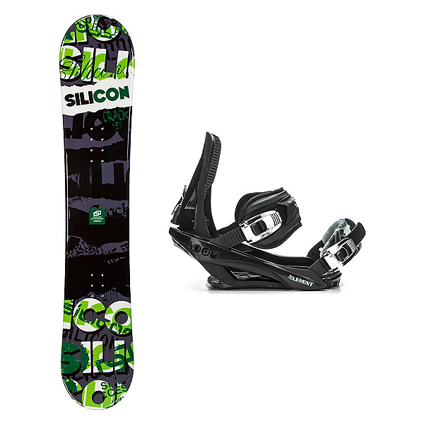 Silicon Crack Green Stealth 3 Snowboard and Binding Package 2018, , 600