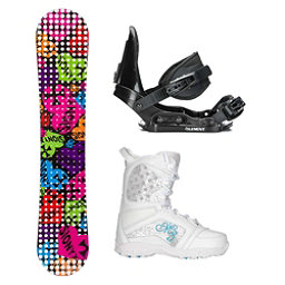 Sionyx Hearts Black S Venus Girls Complete Snowboard Package, , 256