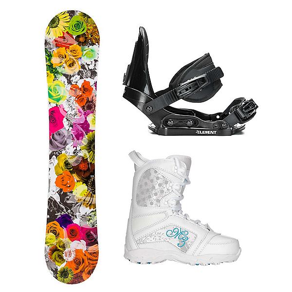 SLQ Secret Yellow Hybrid Venus Girls Complete Snowboard Package, , 600
