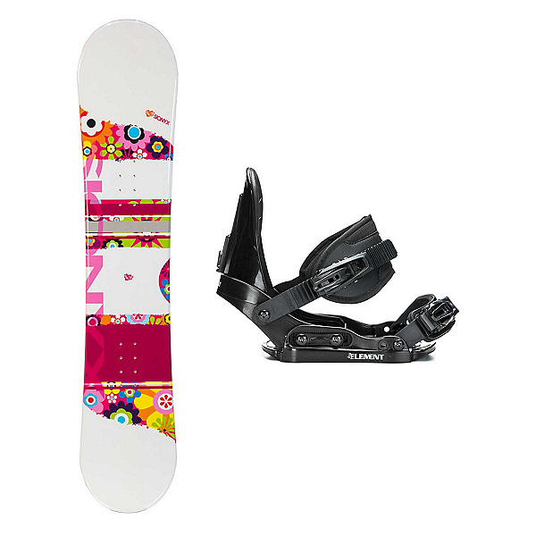 Sionyx Flower Girl White Stealth Girls Snowboard and Binding Package, , 600