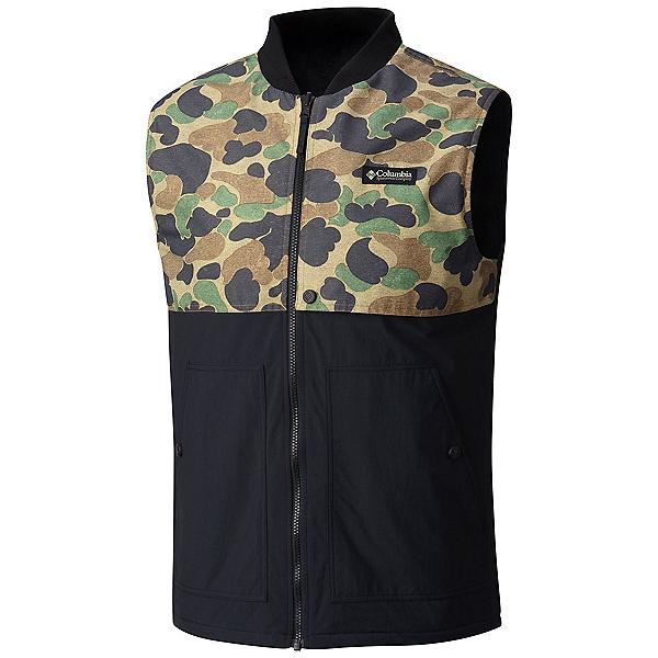 Columbia Reversatility Mens Vest, Black, Buffalo Camo, 600
