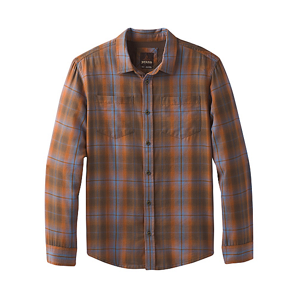 Prana Holton Plaid Long Sleeve Mens Shirt, Scorched Brown, 600