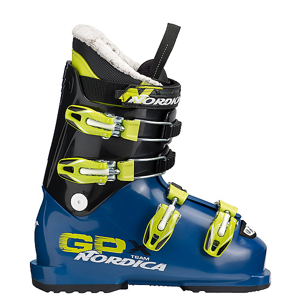 Nordica GPX Team Kids Ski Boots, Blue-Lime, 600