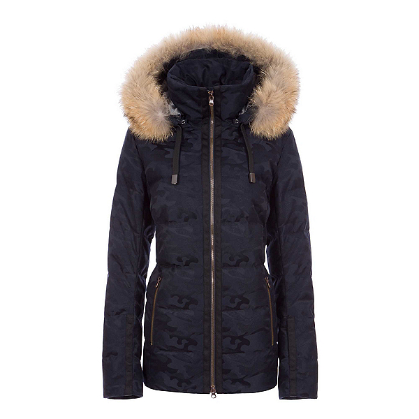 FERA Harper Special Edition - Real Fur Womens Insulated Ski Jacket, Midnight Camo, 600