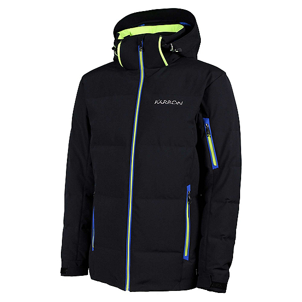 Karbon Thor Mens Insulated Ski Jacket, Black-Neon Lime-Empire, 600
