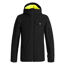 Quiksilver Mission Solid Boys Snowboard Jacket, Black, 256