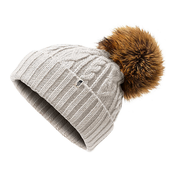 The North Face Oh-Mega Fur Pom Beanie Womens Hat, Vintage White, 600