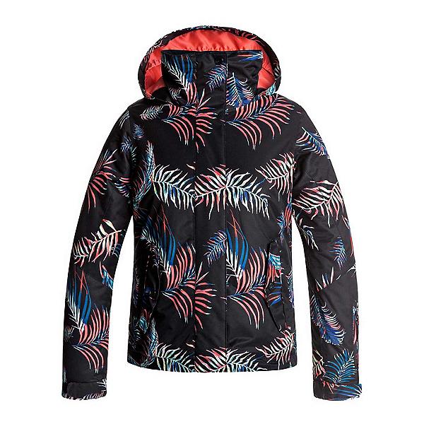 Roxy Jetty Girls Snowboard Jacket, True Black-Neon Palms, 600