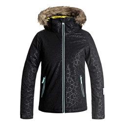 Roxy American Pie Solid w/Faux Fur Girls Snowboard Jacket, True Black-Gana Emboss, 256