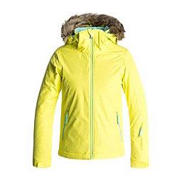 Roxy American Pie Solid w/Faux Fur Girls Snowboard Jacket, Lemon Tonic-Gana Emboss, 256