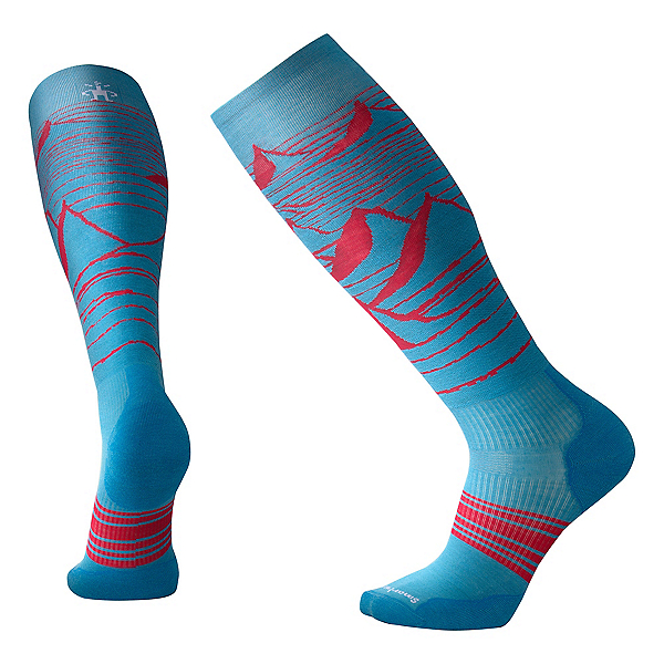 SmartWool PhD Slopestyle Light Elite Snowboard Socks 2019, Glacial Blue, 600