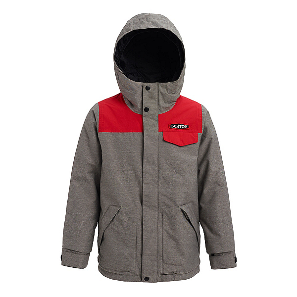 Burton Dugout Boys Snowboard Jacket, Bog Heather-Flame Scarlet, 600