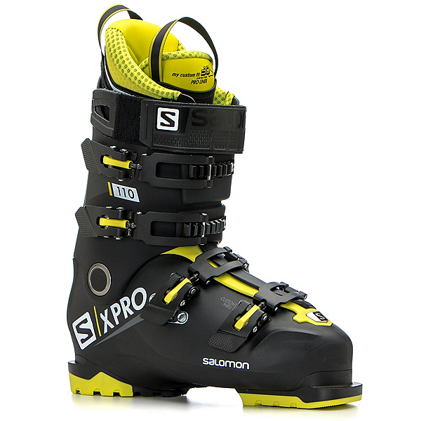 Salomon X-Pro 110 Ski Boots, Black-Acid Green-White, 600