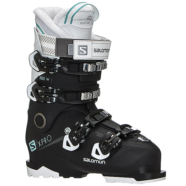Salomon X-Pro X80 W CS Womens Ski Boots, Black-White-Aruba Blue, 600