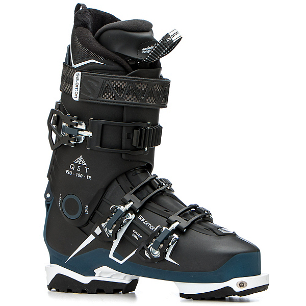 Salomon QST Pro 100 TR Ski Boots, Black-Petrol Blue-White, 600
