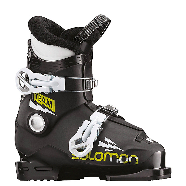 Salomon Team T2 Kids Ski Boots 2020, Black-Acid Green-White, 600
