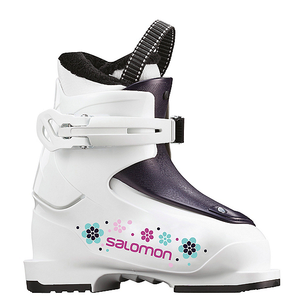 Salomon T1 Girly Girls Ski Boots, White-Rose Violet Translucent, 600