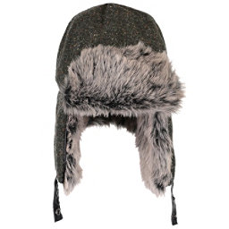 Obermeyer Trapper Knit with Faux Fur Hat, Grey Black Herringbone, 256