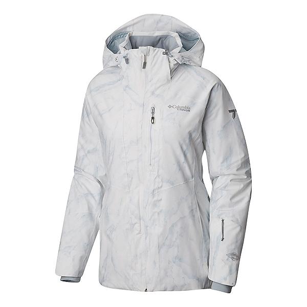 Columbia Snow Rival Womens Insulated Ski Jacket, White Marble Print, 600