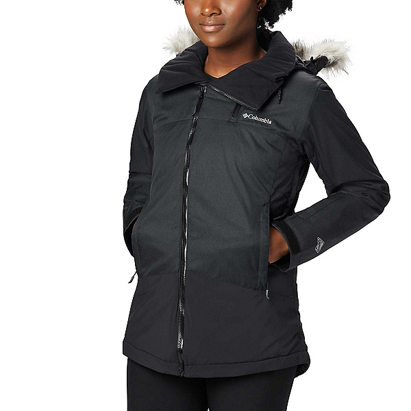 Columbia Emerald Lake Parka w/Faux Fur - Plus Womens Insulated Ski Jacket 2020, Charcoal Heather Black, 600