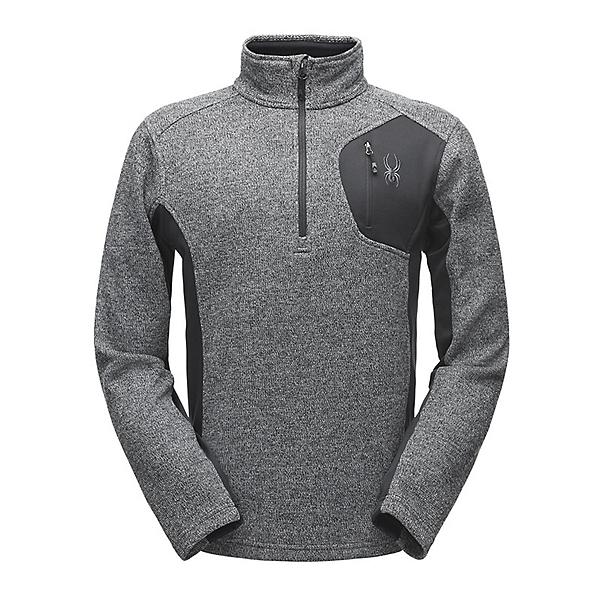 Spyder Bandit Half Zip Mens Sweater, Black-Polar-Black, 600