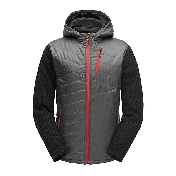 Spyder Ouzo Hoody Stryke Mens Jacket 2019, Polar-Black-Red, 600