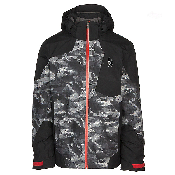 Spyder Chambers GTX Mens Insulated Ski Jacket, Camo Distress Print-Black-Volc, 600