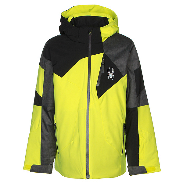 Spyder Leader Boys Ski Jacket, Bryte Yellow-Polar Herringbone, 600