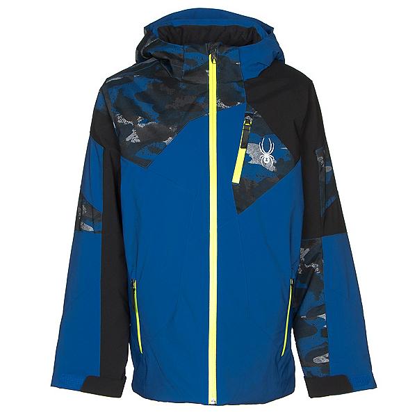 Spyder Leader Boys Ski Jacket, Turkish Sea-Camo Distress Blue, 600
