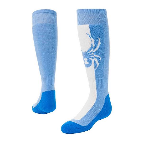 Spyder Swerve Girls Ski Socks, Blue Ice-White-Turkish Sea, 600