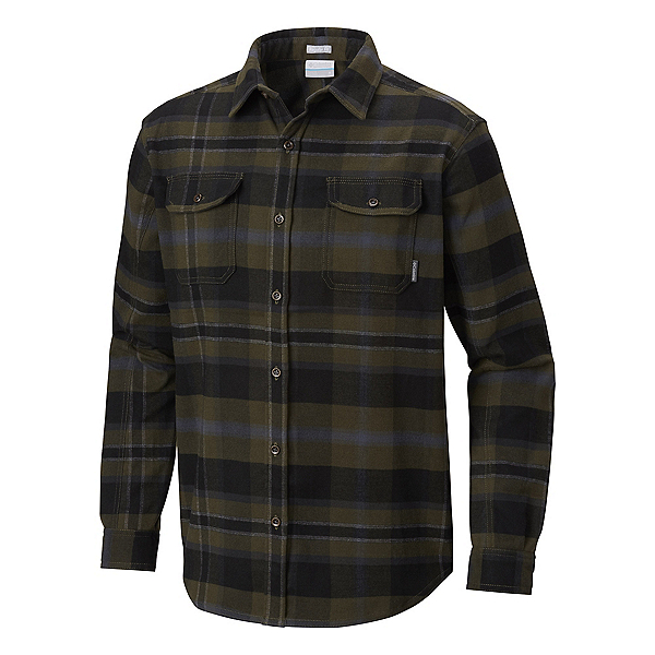 Columbia Deschutes River Flannel Shirt, Peatmoss Large Plaid, 600