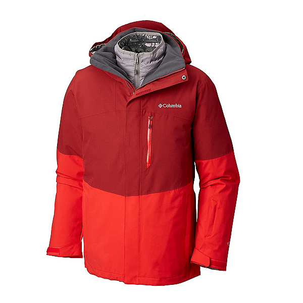 Columbia Wild Card Interchange Mens Insulated Ski Jacket, Red Element-Red Spark-Boulder, 600