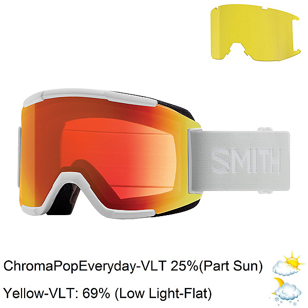 Smith Squad Goggles 2020, White Vapor-Chromapop Everyday + Bonus Lens, 600