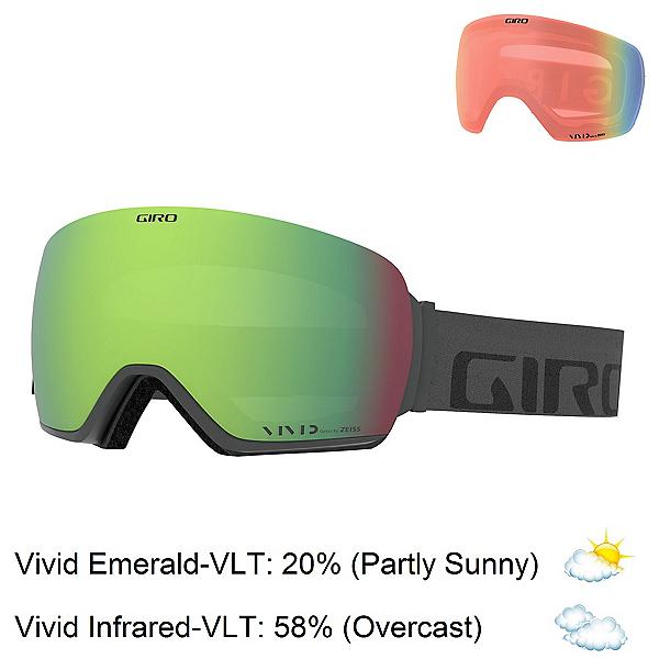 Giro Article Goggles 2019, Grey Wordmark-Vivid Emerald + Bonus Lens, 600
