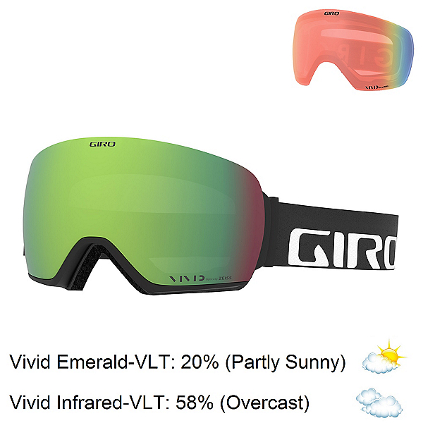 Giro Article Goggles, Black Wordmark-Vivid Emerald + Bonus Lens, 600